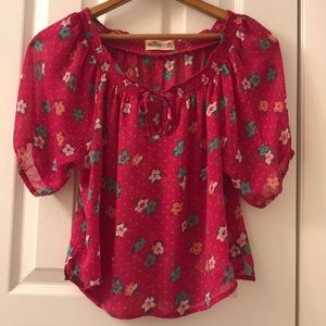 5/$25 Hollister hot pink floral sheer top size XS